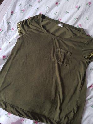 T-Shirt mit Stein-Details