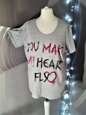 T-Shirt mit Steinchen Sommer leicht L 42 Grau