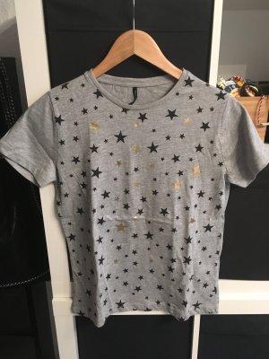 T-Shirt mit Sternen Grau/Gold/Schwarz Gr. S