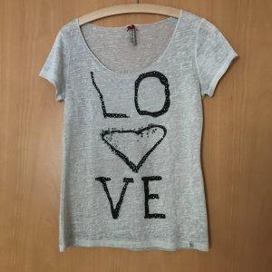 T Shirt mit Strassaufschrift
