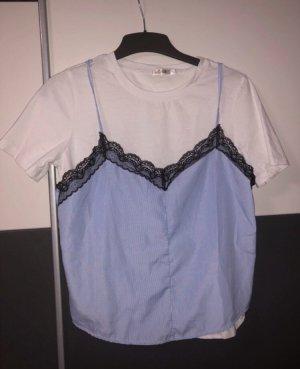 Camiseta blanco-azul celeste