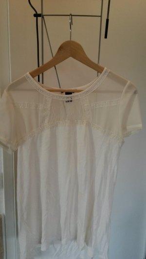 T Shirt mit transparenten Stoff und Spitze