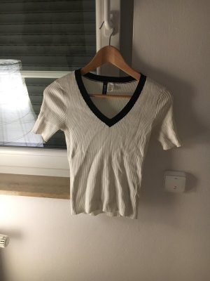 H&M T-shirt blanc-noir