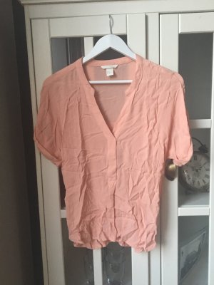 H&M V-hals shirt abrikoos-zalm