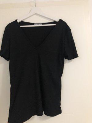 T-shirt mit V-Ausschnitt schwarz