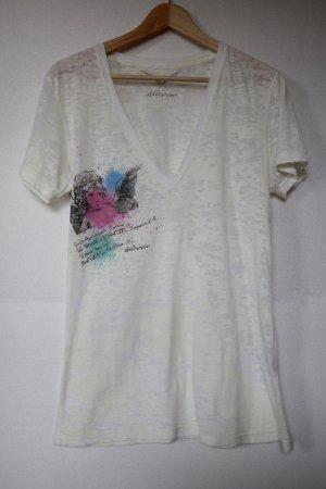 T-Shirt mit V-Ausschnitt und Engels-Print