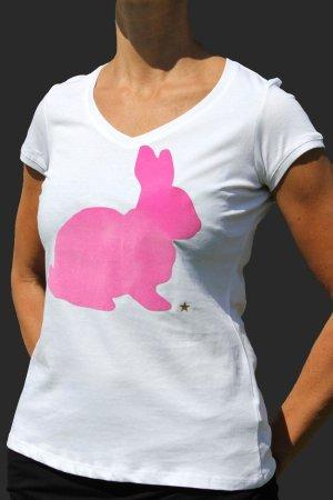 """T-Shirt mit V-Neck """"Hase"""""""