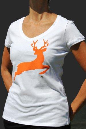 """T-Shirt mit V-Neck """"Hirsch"""""""
