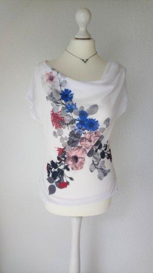 T-Shirt mit Wasserfallausschnitt und Raffung an der Seite, Blumen-Print