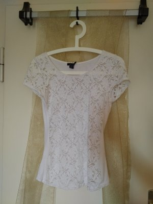 T-Shirt mit weißer Spitze