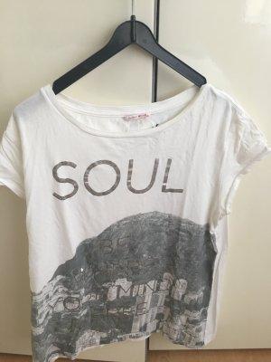 T-Shirt#MUSTANG#silber#Print#weiss#Blogger
