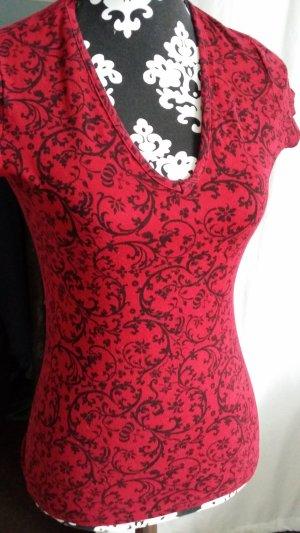 Camiseta estampada rojo oscuro tejido mezclado