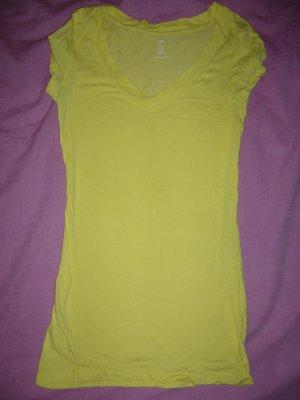 T-Shirt neongelb V-Ausschnitt H&M XS 34