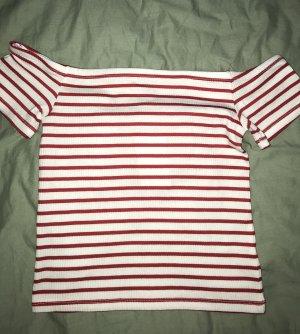 H&M Carmen shirt donkerrood-wit