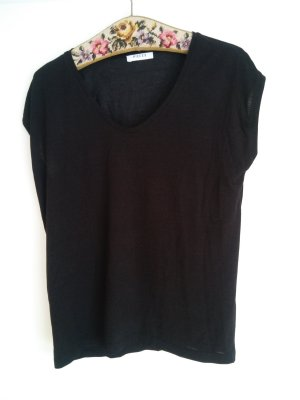 T-Shirt Neu von Pieces Only schwarz mit Lurex Glitzerstreifen dezent