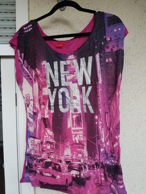 T-Shirt New York Print, pink, Glitzer, neu, 42