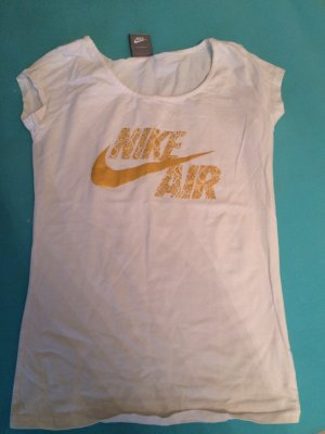 T-Shirt Nike air weiß Gold Gr S