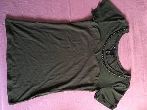 T-Shirt oben Transparent Khaki Perlen