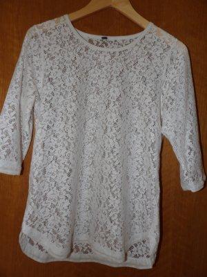 T-Shirt Oberteil Festival Boho Spitze Gr. 36 weiß