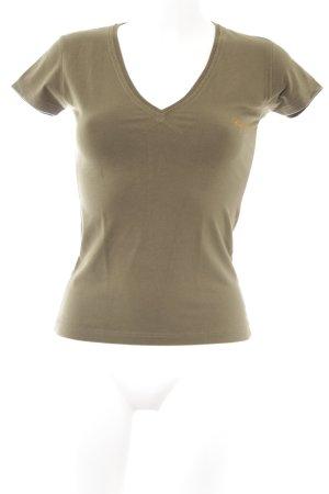 T-Shirt olivgrün Schriftzug gedruckt Casual-Look