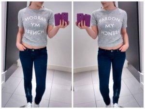 T-Shirt Pardon my French Gr. XS S 36 34 Gina tricot Shirt oberteil grau swag