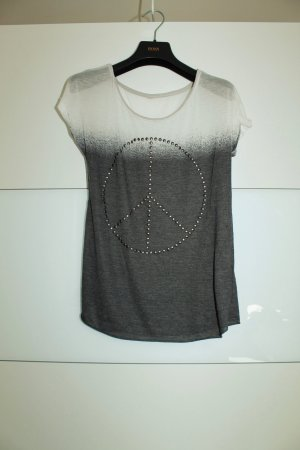 """T-shirt """"Peace"""" grau-weiss mit Nieten"""