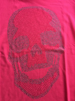 T-Shirt Philipp Plein neonpink M mit Strasssteinen
