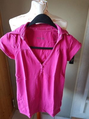 T-Shirt pink mit Kragen und Knopfleiste