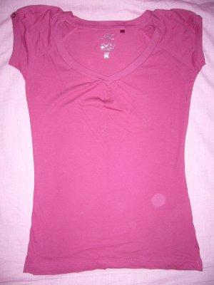 T-Shirt pink Raffung vorne Knöpfe an Ärmeln Ann Christine 100 % Baumwolle XS 34