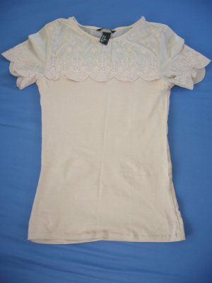 T-Shirt puder rosa mit Spitze Ausschnitt+Ärmel 94 % Baumwolle H&M XS 34