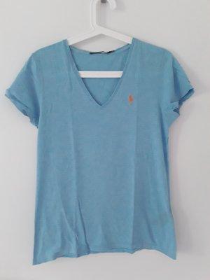 Ralph Lauren Sport V-hals shirt oranje-babyblauw