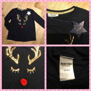 Camiseta estampada azul oscuro-rojo Algodón