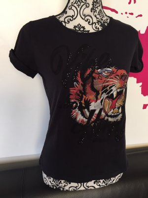 T-Shirt Rich and Royal schwarz Glitzer Aufdruck Tiger Rundhals