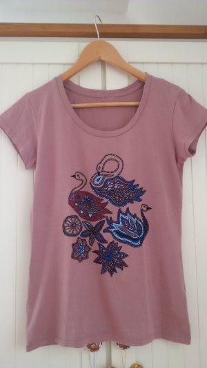 T-Shirt rosa Gr.S mit buntem Blumen/Schwanenmuster, Baumwolle, Zustand gut