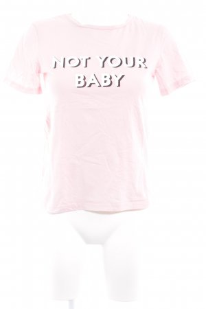 T-Shirt rosa Schriftzug gedruckt Casual-Look