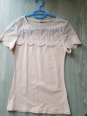 T-Shirt, rose, Tattoospitze, Gr.34, H&M