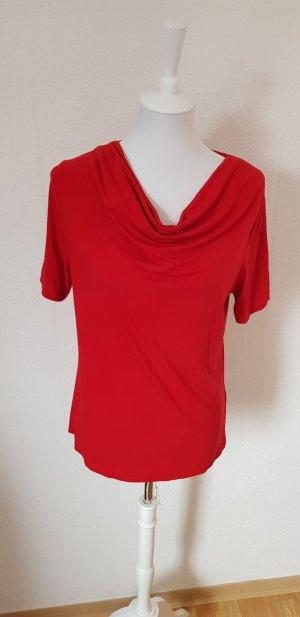 T-Shirt rot Wasserfallkragen