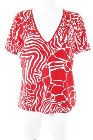 Camiseta rojo-blanco puro estampado de animales estilo extravagante