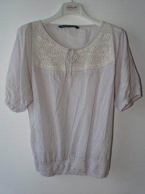 T-Shirt Rundhals Häkelapplikation Raffung Grau Gr.S Zara (NP: 30€)