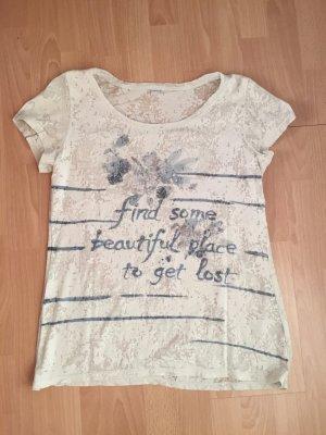 T-Shirt S.Oliver Ausbrennmuster & Schmucksteinchen Statementshirt
