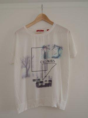 T-Shirt *s.Oliver* Gr. 40 weiß mit Druck und Strickbündchen