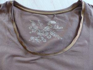 T-Shirt S. OLIVER SELECTION mit Glanzkragen, braun, Gr. 38