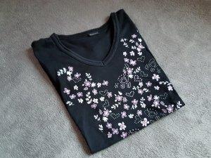 T-Shirt Schwarz Blumen Lila Weiß Print Gr. S