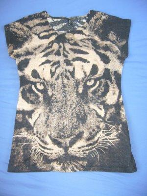 T-Shirt schwarz brauner Tigerprint dicker Stoff Ann Christine XS 34