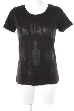 Camiseta negro-gris oscuro letras impresas look Street-Style