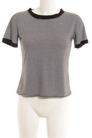 T-shirt noir-gris motif rayé style décontracté