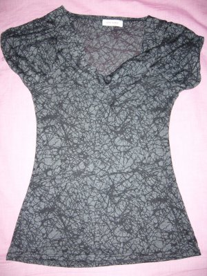 T-Shirt schwarz-grau Wasserfallausschnitt Orsay XS 34