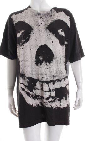 T-Shirt schwarz-hellbeige Allover-Druck Punk-Look