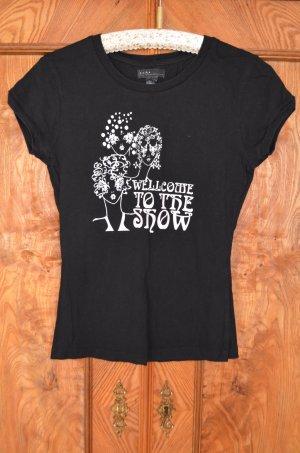 T-Shirt schwarz mit Aufdruck, reine Baumwolle