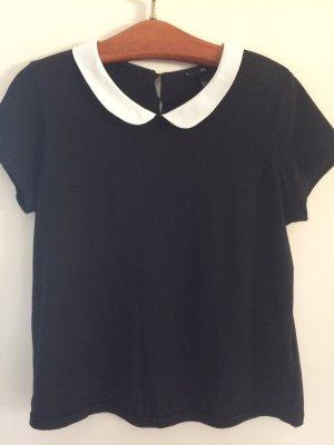 T-Shirt schwarz mit Bubikragen | Gr. M